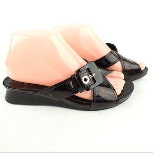 Stuart Weitzman 6.5 patent leather wedge sandals